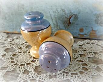 vintage lusterware salt & pepper shakers blue gold 1930's japan salt and pepper shaker set vintage home decor