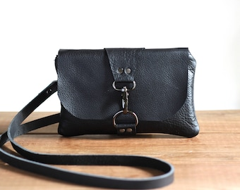 Black Leather Bag, Mini Crossbody Bag for Women, Small Festival Bag, Leather Cross Body Purse, Phone Minimalist Clutch, Small Leather Pouch