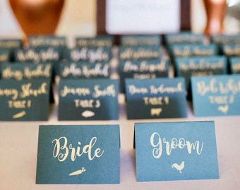 Custom place cards, tented place card, caligraphy place card, meal choice card, meal choice sticker, classic place card
