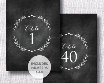 INSTANT DOWNLOAD Wedding Table Numbers / Table Number Printable / Chalkboard Table Number