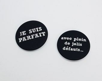 2 badges message funny I am perfect with lots of lovely flaws Blackboard chalk Imitation Gifts for Accessories jacket