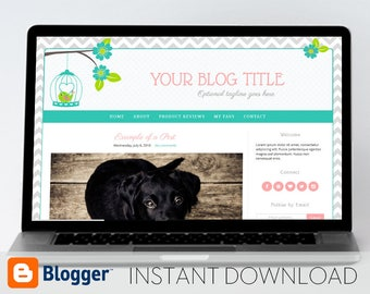 Instant Download Premade Blogger Template, Mobile Responsive // Bird and Flowers - MM105