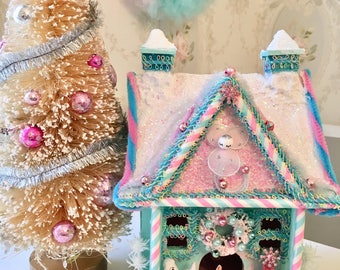 Mint Pink and Aqua Wooden Christmas Glitter House with Angel, Poodle and Bunny!