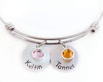 Personalized Mommy Expandable Bangle - Name Bangle - Mother's Bracelet - Mommy Jewelry - Adjustable Bangle - Expandable Bracelet