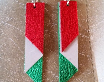 Red, White, Green Leather earrings