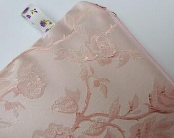 Blush pink bag, bridesmaids bags, wedding makeup bag, brocade clutch, bridesmaid gift, pink gift