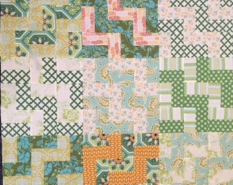 "Baby Quilt Top 37"" Gender Neutral square Green Orange Cream  Ready to Quilt DIY Nursery Gift Baby Shower"