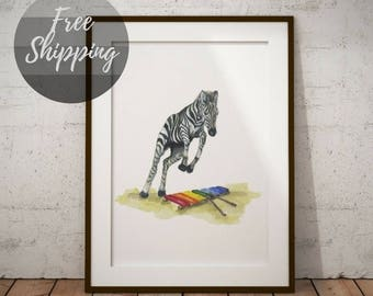 Nursery animal print Safari nursery decor Zebra on canvas Wall art print watercolor animals for kids Art for baby wall Painting for nursery