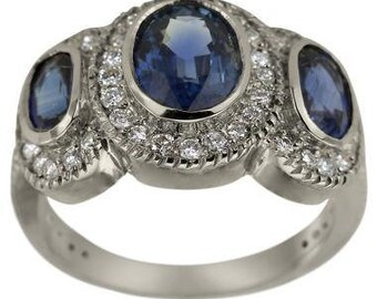 Three Stone Engagement Ring Blue Sapphire Ring 3 Stone Ring With Diamond Accents