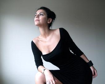 Black Elegant Dress / Classic Midi Dress / Long Sleeves Dress / Square Neckline Dress / Fitted Dress / Marcellamoda - MD0005