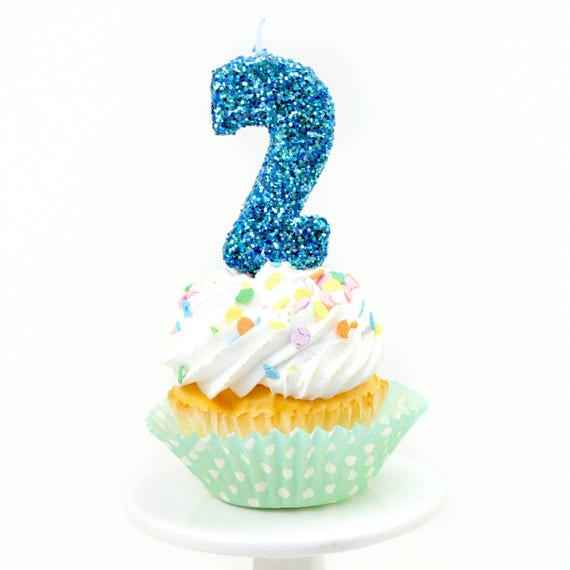 """3"""" Number 2 Candle, Giant 2 Candle, Large Blue Candle, Mermaid Birthday, Giant Glitter Candle, Boy Party Decor, Multi-Colored Glitter"""