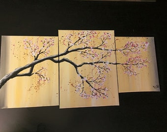 3 piece Yellow Cherry Blossom Tree