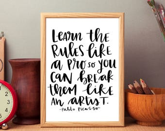 Artist Picasso quote art print