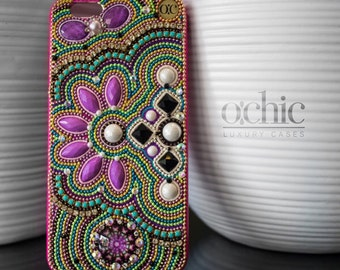 Samsung Galaxy S7 Case - Purple Flower -Galaxy S6 Case -  Handmade -  Bling Cell Phone Case - Samsung Cover - iPhone 6 Plus - Chic Phone