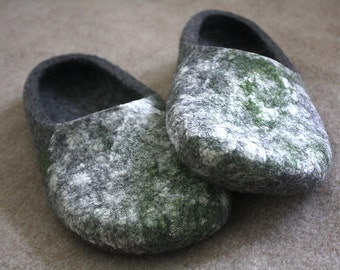 Very Organic hand Felted wool slippers in natural grey colour and moss texture