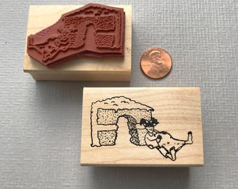 Little Lady Eat Cake Rubber Stamp