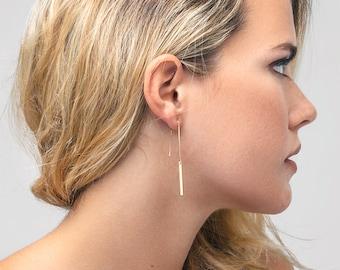 Long Chain Earrings, Bar Earrings, Ear Threader, Threader Earrings in 14kt Gold Filled, Silver Simple Earrings, Mother's Day Gift -230 C8