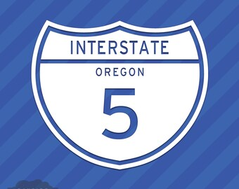 Interstate 5 Oregon Vinyl Decal Sticker Freeway Highway