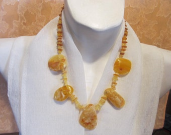 """100% Natural #Baltic #Amber #Necklace 45.1 gr, 20.47""""(52 cm) polished yellow egg yolk opaque brown raw stones free shape Bernstein kette"""