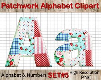 Patchwork Alphabet Clipart: Patchwork Clip Art, Patchwork Letters, Patchwork Font, Patchwork Numbers,letters clipart, Scrapbook supplies PNG