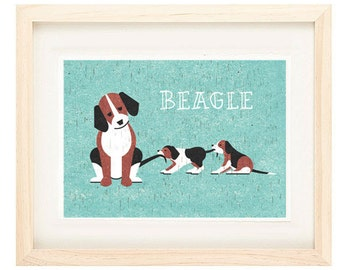 Beagle, Dog Breed, Dog Lover, Dog Art Print, Illustration Print, Brown and Blue, Beagle Puppy Family, Wall Art, Home Decor, Dog Lover's Gift