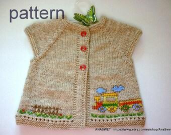 Knitting baby pattern.Pattern baby cardigan.Knitted baby cardigan,knit baby vest.Pattern PDF
