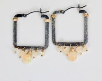 Opal Gemstone Hoop Earrings Geometric Square Hoop Sterling Silver mixed metal Gift for Her Women's Jewelry October birthstone wedding boho