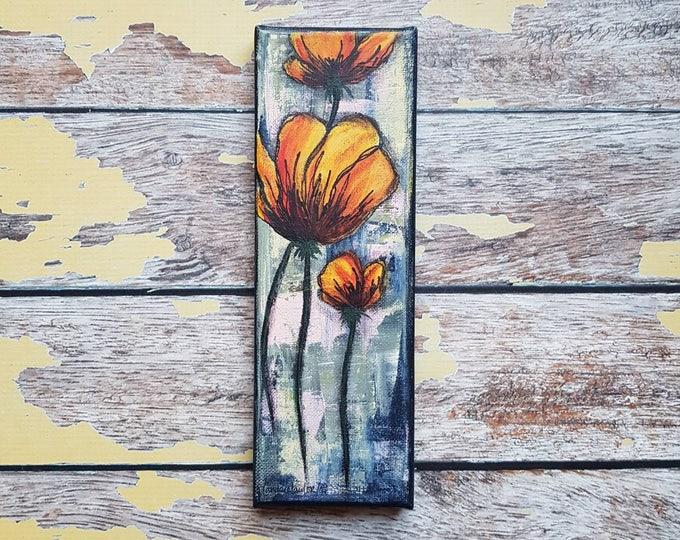 "Original Floral Painting   Flower Art   Original 3x9 Canvas   Poppy Art   Poppy Flower Painting   ""Fresh Cut""   Saltons Cove Studio"