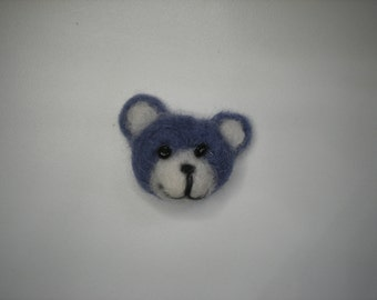 Needle felted bear pin, periwinkle teddy bear, teddy bear brooch, periwinkle blue lilac brooch pin