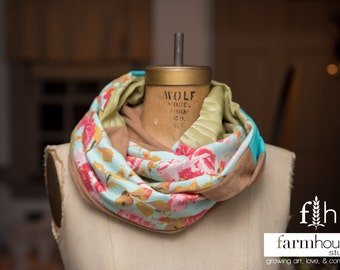 Infinity Scarf, Upcycled material, Floral Scarf, Spring Accessory