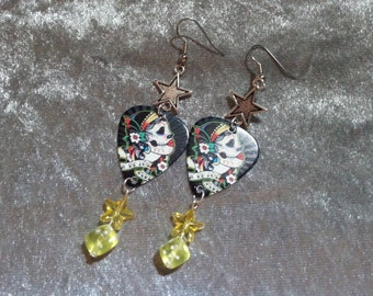 Day of the dead guitar picks with yellow dice and stars earrings