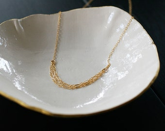 tabula rasa - layered gold necklace, choker necklace, lightweight 14k gold filled necklace