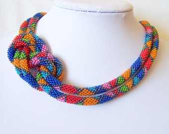 Long Beaded Crochet Rope Necklace - Beadwork - Seed beads jewelry - Elegant - Geometric  - Patchwork - Blue red pink orange green