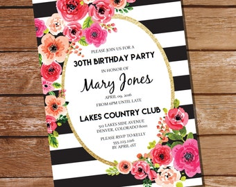 Black And White Stripe Floral Watercolor Birthday Invitation - Party Invitation - Instant Download and Edit at home with Adobe Reader