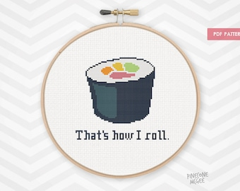 """THAT""""S HOW I ROLL counted cross stitch pattern, easy & funny xstitch pdf"""