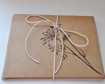Hand Stamped Dandelion Card Set of 5 Kraft Paper Vintage Inspired Greeting Cards Set Thank You Cards BLANK inside Rustic Cards
