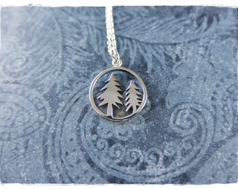 Silver Pine Trees Necklace - Sterling Silver Pine Trees Charm on a Delicate Sterling Silver Cable Chain or Charm Only