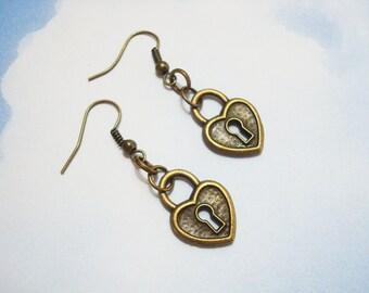 LOCK EARRINGS - bronze padlock earrings - lightweight lock dangle earrings