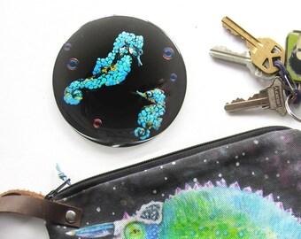 Seahorse Art Pocket Mirror 3.5 inch- Seahorse Hand Mirror,  Compact Mirror