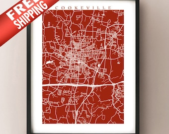 Cookeville, TN Map Print - Tennessee Poster Art