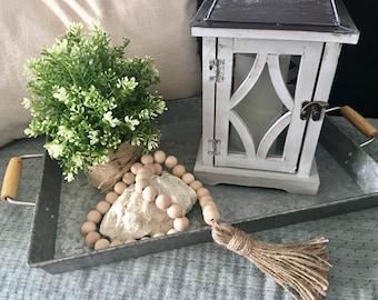 Wood Bead Garland - Natural Wood Bead Garland - Wood Bead Garland With Tassel - Decorative Garland - Bead Garland - Farmhouse Style Decor