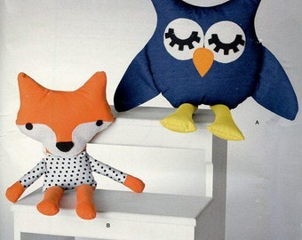 Free Us Ship Sewing Pattern Simplicity 1270 Forest Woodland Creatures Fox Owl Stuffed Animals Dolls Craft Sewing Pattern Out of Print
