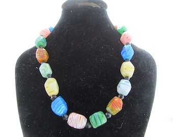 MILLIFIORI Glass Cubed Style Beaded Necklace