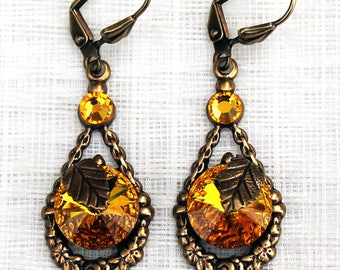 Vintage fall earrings with yellow swarovski crystals