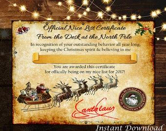 Santa nice list etsy personalized christmas santa nice list certificate blank digital printable yadclub Gallery