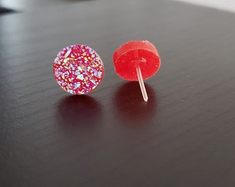 Bright Red Sparkle Druzy 12mm Plastic Post Earrings, Plastic Post Stud, Druzy Stud Earring, Nickel Free Earrings, Hypoallergenic Earring