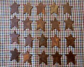 "Lot of 20 1 inch Rusty Primitive Stars 1"""