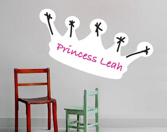 Writable Dry Erase Decal, Princess Dry Erase Mural, Crown Writable Wall Design, Dry Erase Wall Decal, Erasable Wall Sticker, Writable, b56
