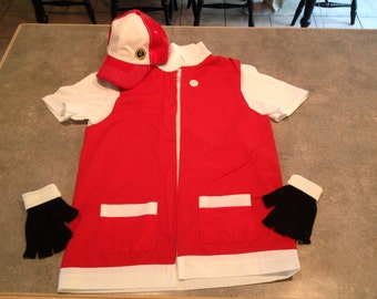 Adult LARGE - Pokemon Costume Trainer RED Cosplay - 3 pc Costume - Jacket Gloves Hat & Adult 3 pc Pokemon Costume Trainer RED Cosplay Jacket
