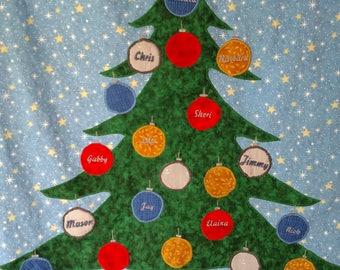 Family Tree Christmas Tree Quilt / Family Tree